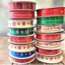 Festive & Snowflake Ribbon Collection 72m Clearance