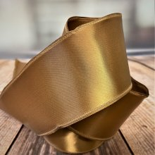 63mm Old Gold / coffee Satin Ribbon Wired 4.5M BARGAIN