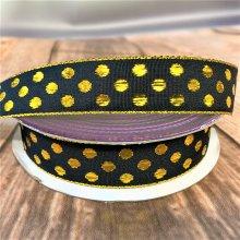 25mm bubble dots ribbon - black & Gold 20M