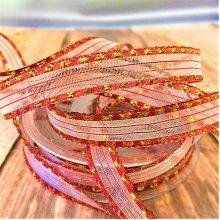 15mm red / gold stripe ribbon 20M