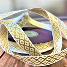 12mm Christmas Lattice ribbon ivory / gold  20M Bargain