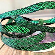 12mm Christmas Lattice ribbon emerald 20M Bargain