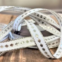 12mm Christmas white / silver dotted Ribbon 20M