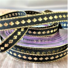 12mm Christmas Gold/ Black dotted Ribbon 50M Clearance