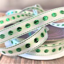 12mm Christmas  ivory / emerald Dot 20M Clearance