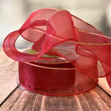 38mm Christmas Red Organza Gold Edge 25M