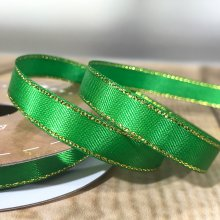 10mm Satin Ribbon Holiday Green with Gold Edge