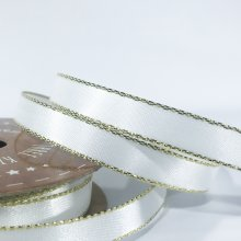 10mm Satin Ribbon White with Gold Edge