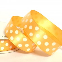 15mm Satin Dot Ribbon Burnt Orange