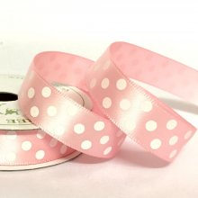 15mm Satin Dot Ribbon Pale Pink