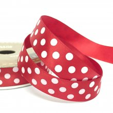 15mm Satin Dot Ribbon Red