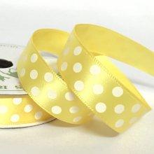 15mm Satin Dot Ribbon Sun Yellow