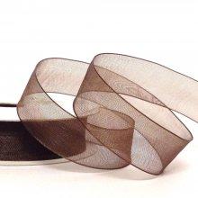 15mm Organza Ribbon Chocolate