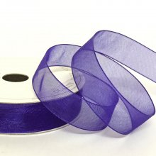 15mm Organza Ribbon Chocolate Purple