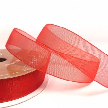15mm Organza Ribbon Flame Red
