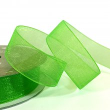 15mm Organza Ribbon Neon Green