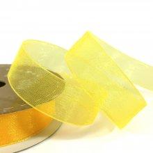 15mm Organza Ribbon Neon Yellow
