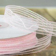 15mm Pull Bow Ribbon Light Pink Stripe - 22m
