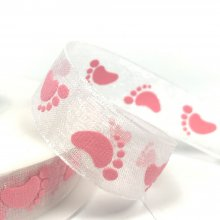 15mm Organza Baby Feet Pink