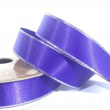 15mm Satin Ribbon Purple with Silver Edge