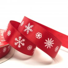 15mm Satin Snowflake Ribbon Red