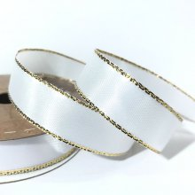 15mm Satin Ribbon White with Gold Edge - 25m