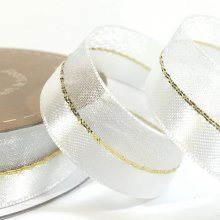 15mm Duo Shimmer Ribbon Bridal White