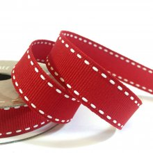 15mm Side Stitch Ribbon Classic Red