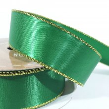 22mm Satin Ribbon Green with Gold Edge
