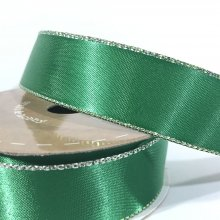 22mm Satin Ribbon Green with Silver Edge