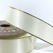 22mm Satin Ribbon Ivory with Gold Edge