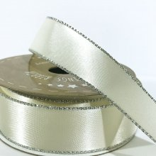 22mm Satin Ribbon Ivory with Silver Edge