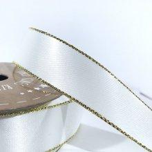 22mm Satin Ribbon White with Gold Edge