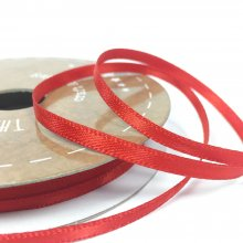 3mm Satin Ribbon Flame Red