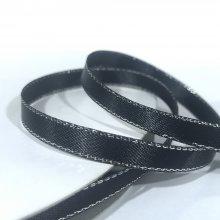 6mm Satin Ribbon Black with Silver Edge