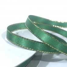 6mm Satin Ribbon Green with Gold Edge