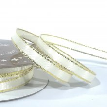 6mm Satin Ribbon Ivory with Gold Edge