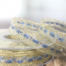 13mm Metallic Gold Ribbon with Ice Blue & Gold Stripe