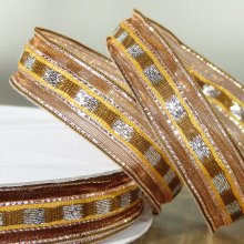 16mm Trax Bronze Ribbon with Sparkly Stripes - 50m