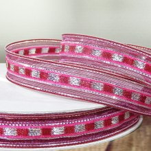 16mm Trax Cerise Pink Ribbon with Sparkly Stripes - 50m