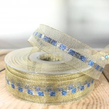 23mm Metallic Gold Ribbon with Ice Blue & Gold Stripe