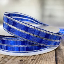 25mm Art Deco Check Ribbon Royal Blue - Wired Edge - 50m