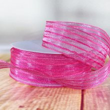25mm Fiesta Stripe Ribbon Pink - 20m