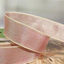25mm Taffeta Ribbon Salmon Pink - wired edge - 27m