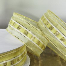 26mm Trax Pale Gold Ribbon with Sparkly Stripe - 50m