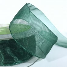 35mm Organza Ribbon Bottle Green
