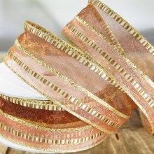 36mm Organza Ribbon Festive Stripe Copper & Gold