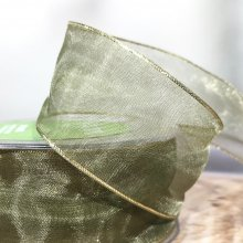 38mm Organza Ribbon Olive Green with gold edge