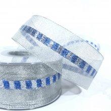 38mm Metallic Silver Ribbon with Blue & Silver Stripe