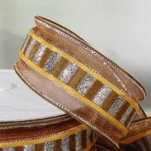 38mm Trax Bronze Ribbon with Sparkly Stripes - 50m